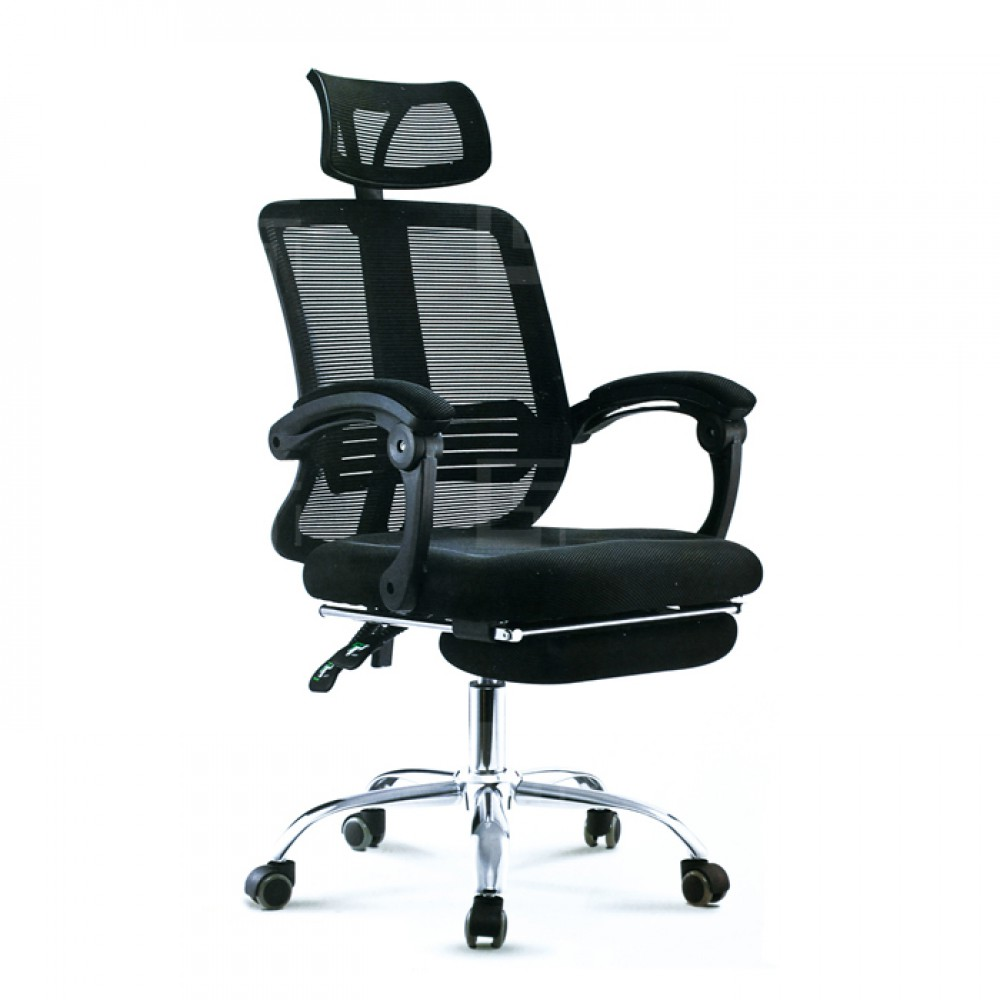 黑網布坐臥兩用辦公椅