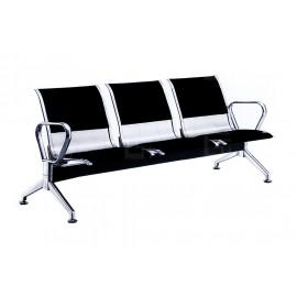 皮面軟墊不鏽鋼公共排椅(二人/三人/四人)