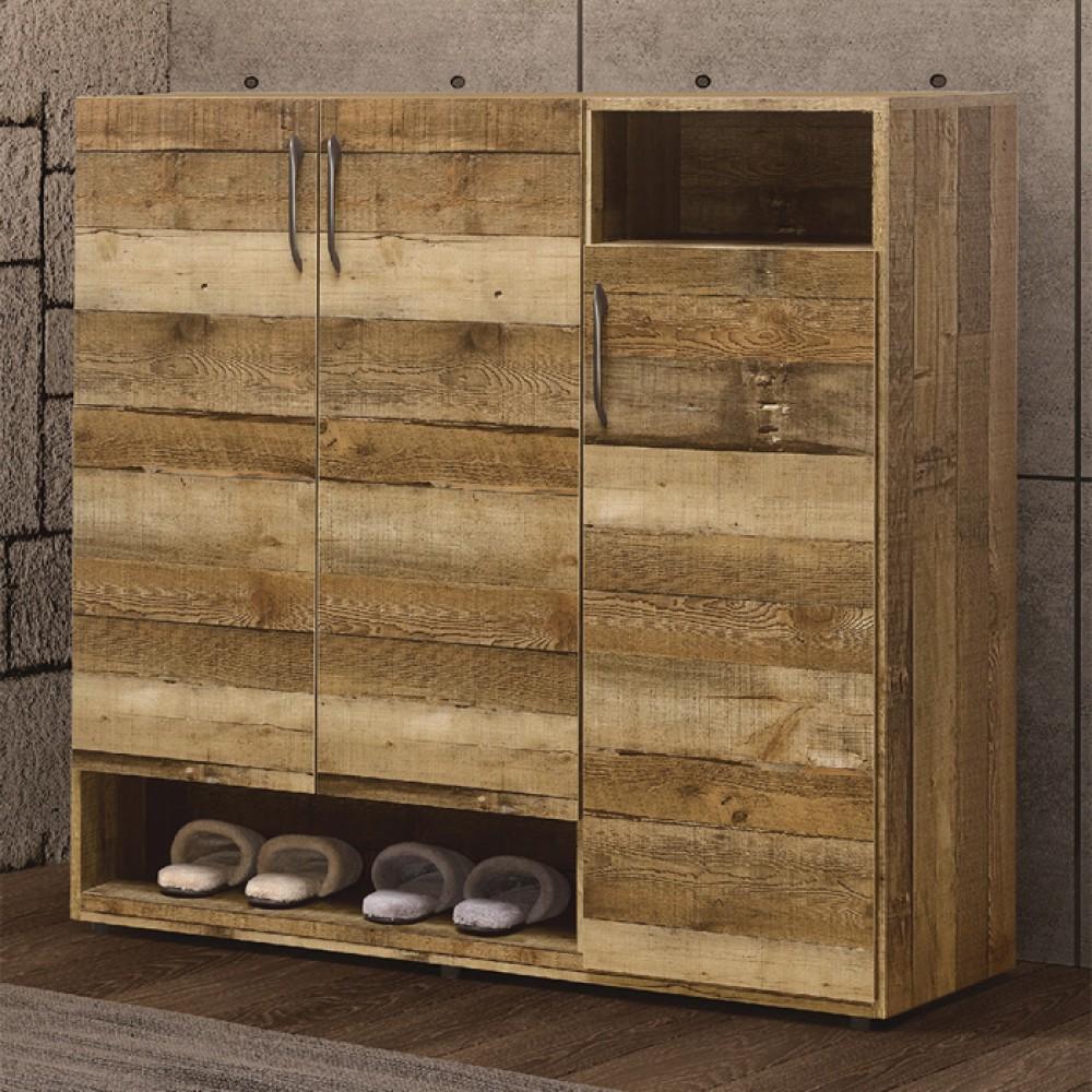 雀巢4尺厚切木紋三門鞋櫃