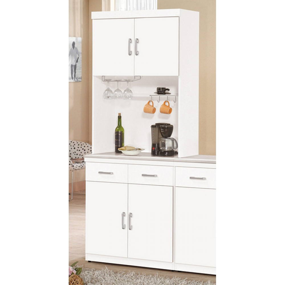 祖迪白色2.7尺石面雙門餐櫃