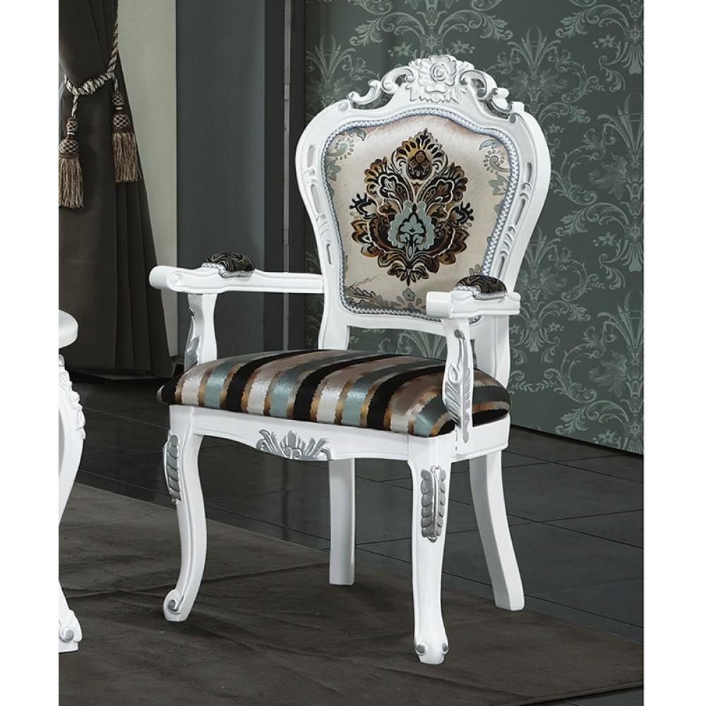 白色法式扶手洽談休閒椅