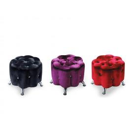 梅花型絨布水鑽沙發凳(紅/黑/紫/銀)
