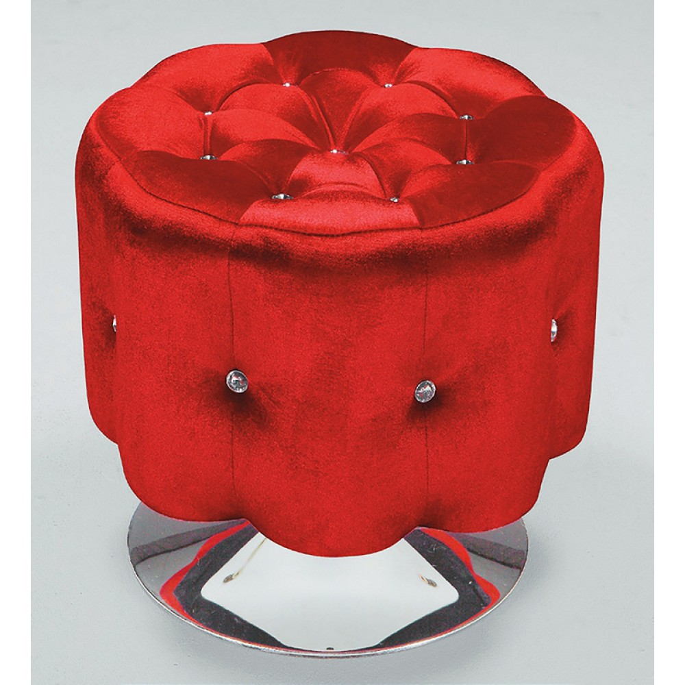 梅花型絨布水鑽可旋轉沙發凳(紅/黑/紫/銀)