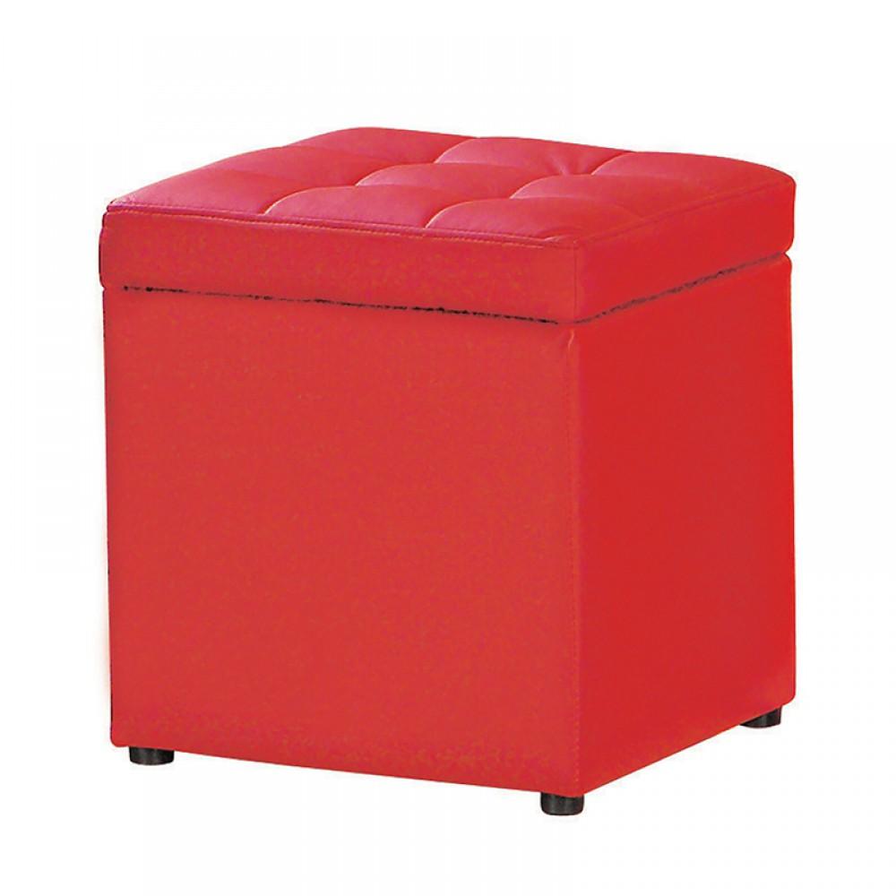合成皮可收納椅凳(紅/黑/米白/咖啡)