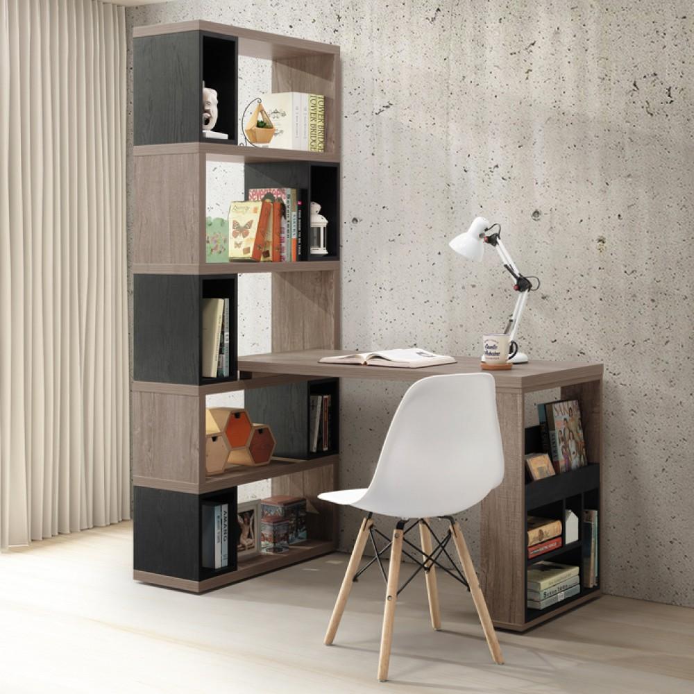 佩芮4尺h型活動書櫥桌組(古橡木色/原木色)
