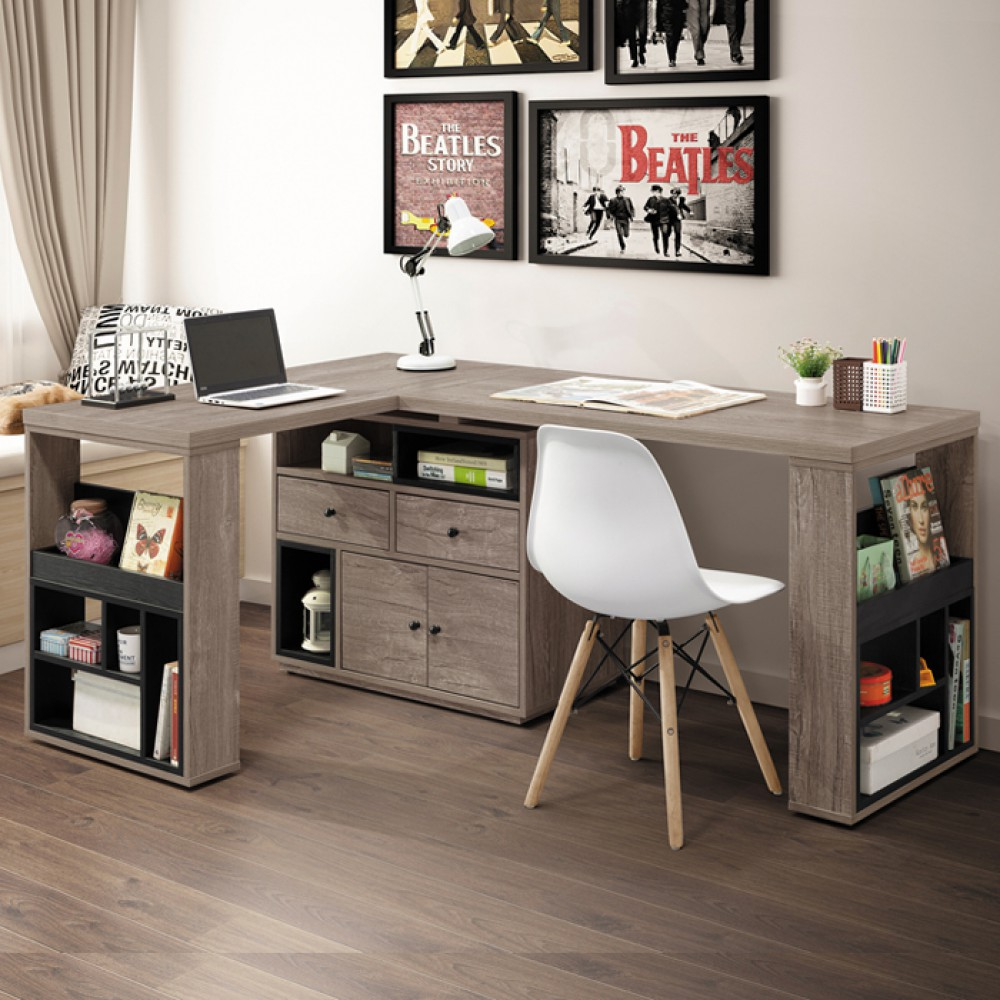 艾爾頓5.3尺L型多功能桌組(古橡木色/原木色)