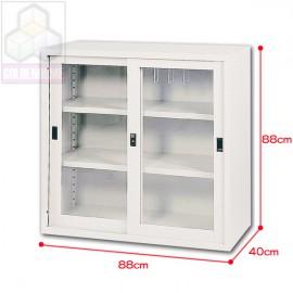 直角框玻璃鐵櫃3尺
