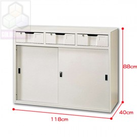 中三屜鐵櫃4尺