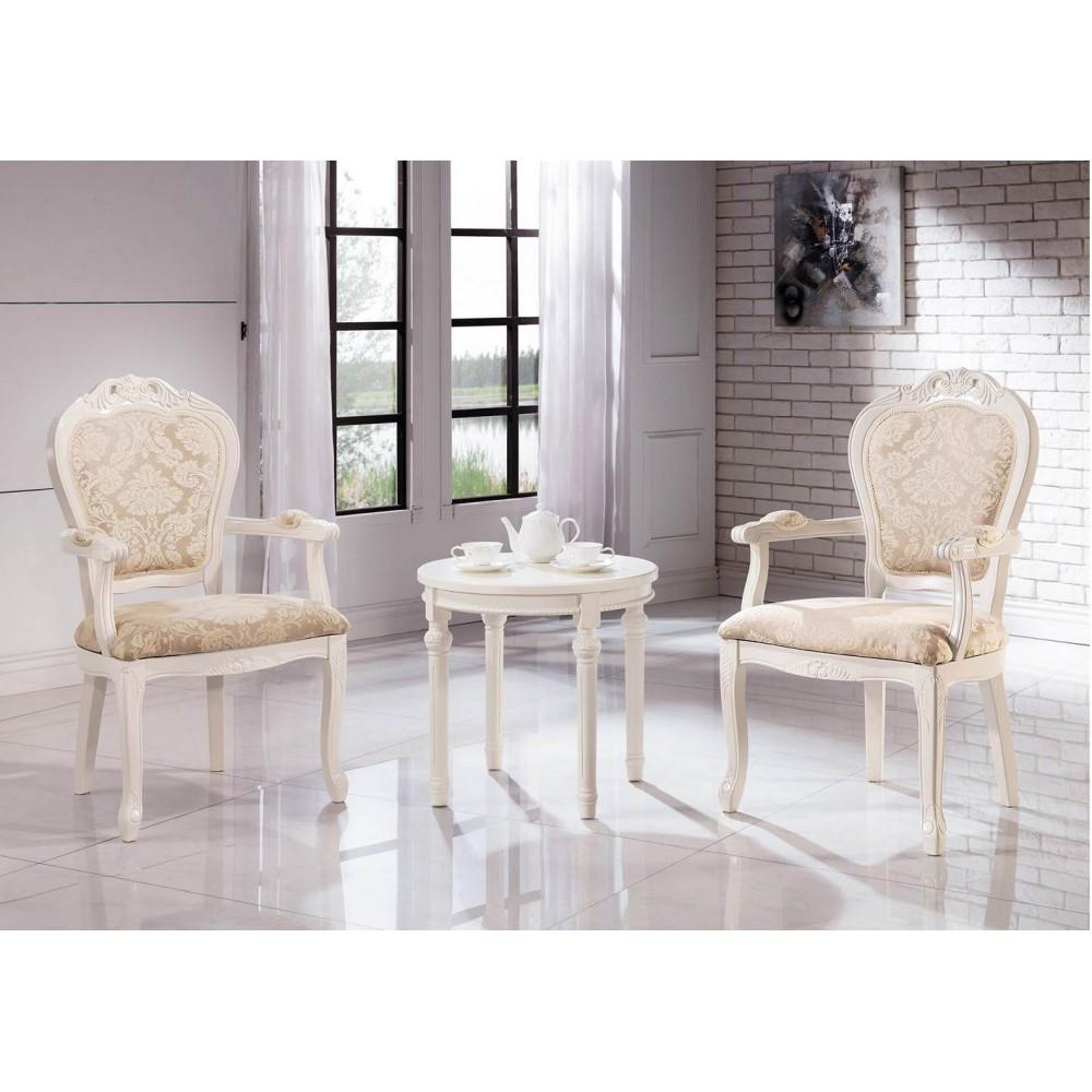 格瑞絲古典白色雙扶手休閒椅(單椅價)