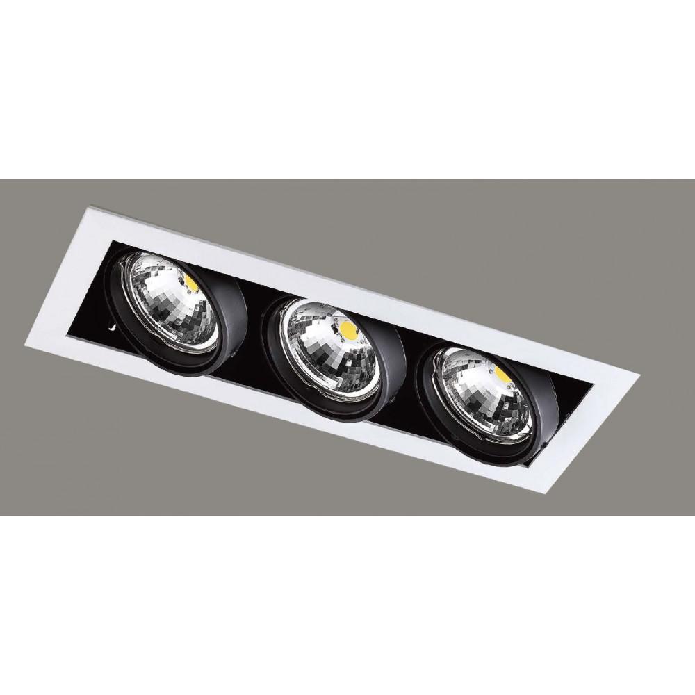 #1227燈杯可調角度式LED三盞方型嵌燈