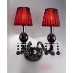 #5423壁掛式雙盞布燈罩黑水晶燈